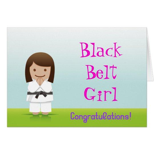 Martial Arts Black Belt Girl Congratulations Card カード
