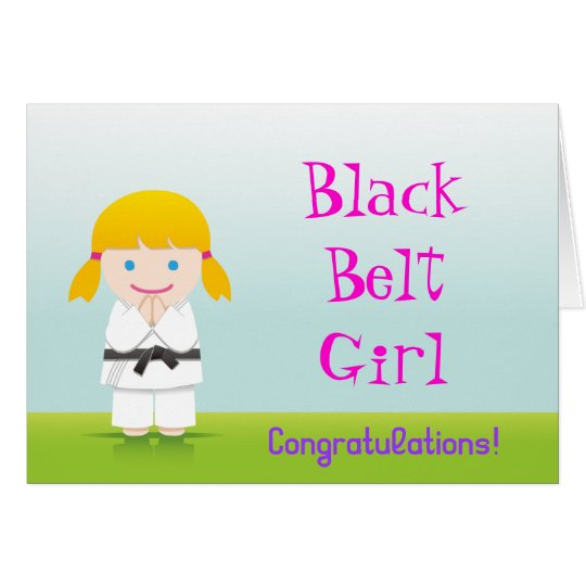 Martial Arts Black Belt Girl Congratulations Card カード