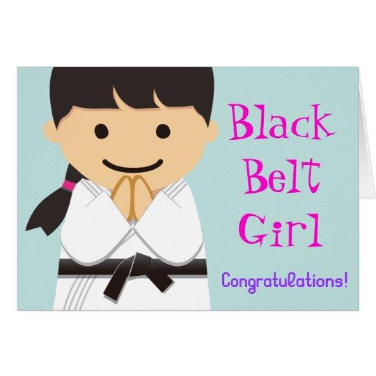 Martial Arts Black Belt Girl Smile Card カード