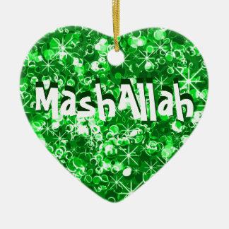 Mashallahのイスラム教のお祝いの緑のオーナメント セラミックオーナメント