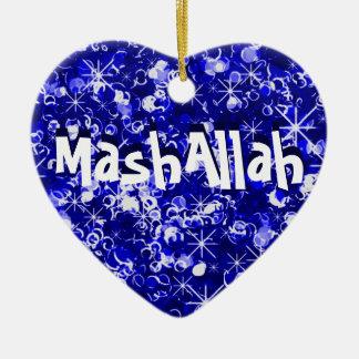 Mashallahのイスラム教のお祝いの青いオーナメント セラミックオーナメント