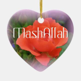 Mashallahのイスラム教の赤いバラのオーナメント セラミックオーナメント