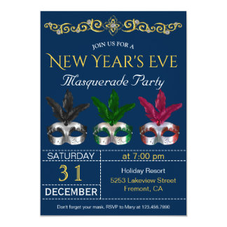 Masquerade Masks New Year's Eve Party Invitation カード