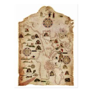 Mateusのプルーン(1559年)によって地中海ののの図表 ポストカード