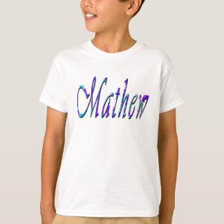Mathewの名前、ロゴ、男の子の白のTシャツ Tシャツ