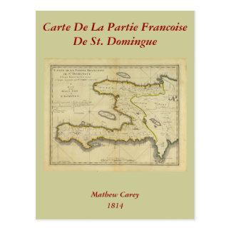 Mathew Carey著1814年のハイチの地図 ポストカード