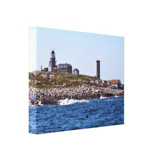 Matinicusの石の灯台、メイン キャンバスプリント
