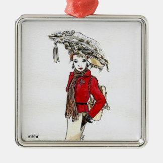 Matisseのファッションの水彩画-さくらんぼの記念祭 メタルオーナメント