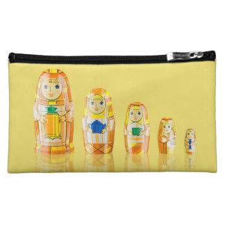 Matryoshkaのオレンジロシアのな人形の化粧品のバッグ コスメティックバッグ