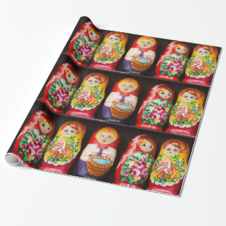 Matryoshkaのカラフルな人形 ラッピングペーパー