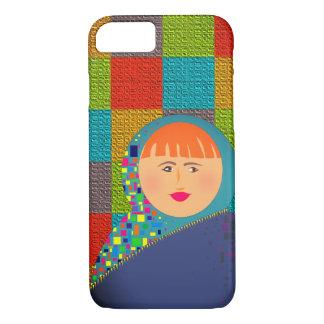Matryoshkaのロシアのな人形のヒップスターのチェック模様のカラフル iPhone 8/7ケース