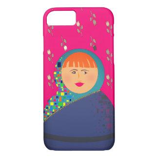 Matryoshkaのロシアのな人形のピンクの花のヒップスターのモダン iPhone 8/7ケース