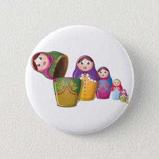 Matryoshkaの人形-ロシア語は人形パターンに入り込みました 5.7cm 丸型バッジ