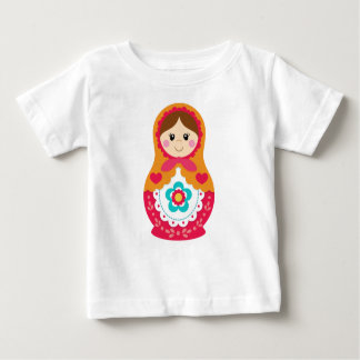 MatryoshkaのTシャツ-赤およびオレンジ ベビーTシャツ