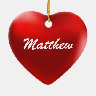 Matthewのオーナメントのハート セラミックオーナメント