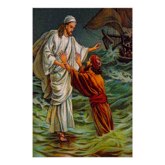 Matthewの14:28 - 33主は、私を救います ポスター