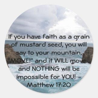 Matthewの17:20のやる気を起こさせるな聖書の引用文 ラウンドシール