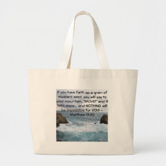 Matthewの17:20のやる気を起こさせるな聖書の引用文 ラージトートバッグ
