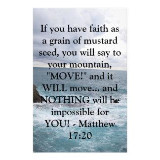 Matthewの17:20のやる気を起こさせるな聖書の引用文 便箋