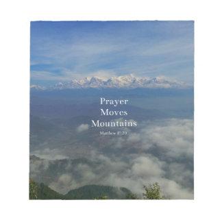 Matthewの17:20の祈りの言葉は山を動かします ノートパッド