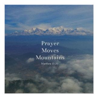Matthewの17:20の祈りの言葉は山を動かします ポスター