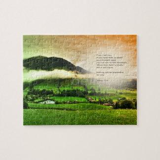 Matthewの17:20移動山の聖書の詩の日没 ジグソーパズル
