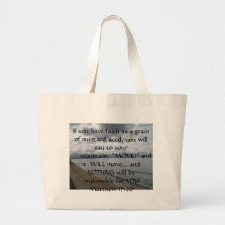 Matthewの17:20 -やる気を起こさせるで感動的な引用文 ラージトートバッグ