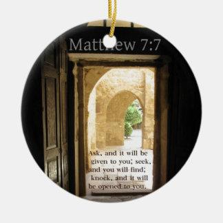 Matthewの7:7の美しい聖書の詩 セラミックオーナメント