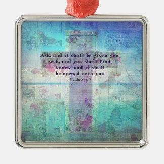 Matthewの7:7 - 8感動的な聖書の詩のクリスチャン メタルオーナメント