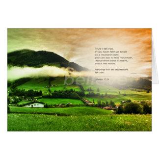 Matthew 17:20 Move mountains bible verse sunset カード