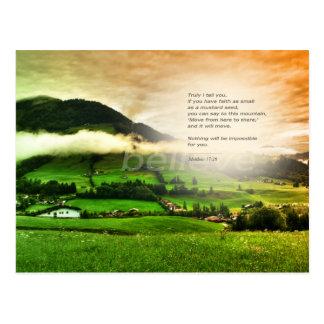 Matthew 17:20 Move mountains bible verse sunset ポストカード