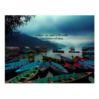 Matthew 4.19隻のキリスト教の芸術の聖書の詩のボート ポストカード