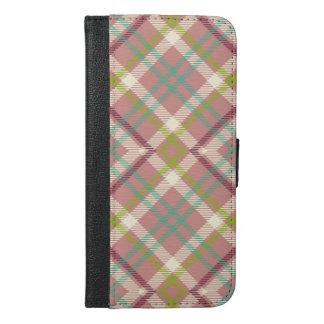 Maudeの藤色の格子縞の電話箱 iPhone 6/6s Plus ウォレットケース