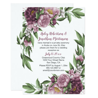 Mauve Pink Peonies Greenery Reception Only カード