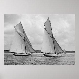 MayflowerおよびGalateaの開始アメリカのコップ1886年 ポスター