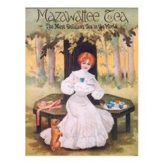 Mazawatteeの茶パグの郵便はがき ポストカード