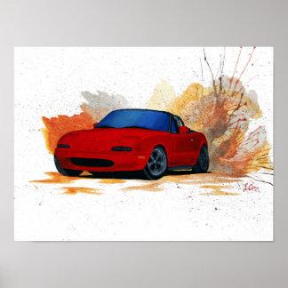 Mazda Miataの漂流の絵画 ポスター