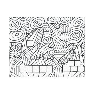 Maze of map canvas print coloring DIY doodle art キャンバスプリント