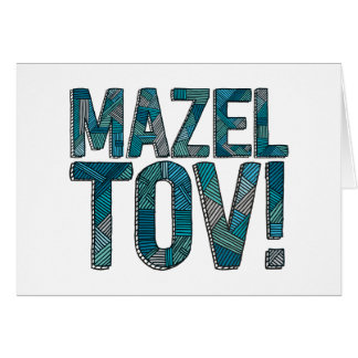 Mazel Tovのパッチワークのティール(緑がかった色) カード