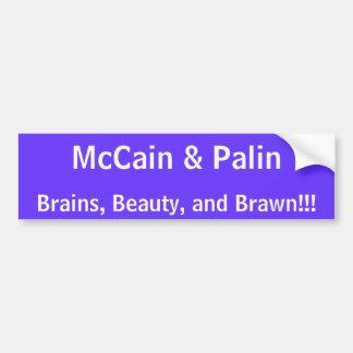 McCain及びPalin、頭脳、美しいおよび腕力!!! バンパーステッカー