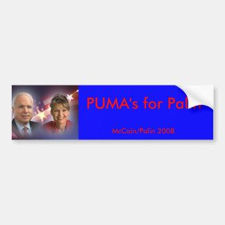 mccainandpalinsticker、Palinのためのピューマ、McCain… バンパーステッカー
