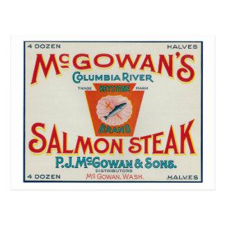 McGowan、ワシントン州-台形サーモンピンクの場合のラベル ポストカード