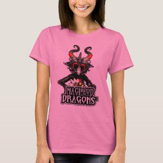 MDの淡いピンクの黒いドラゴンのHanesの長袖T Tシャツ