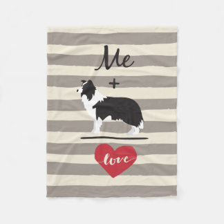 Me plus Border Collie equal Love Fleece Blanket フリースブランケット