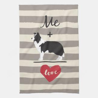 Me plus Border Collie equal Love Kitchen Towel キッチンタオル