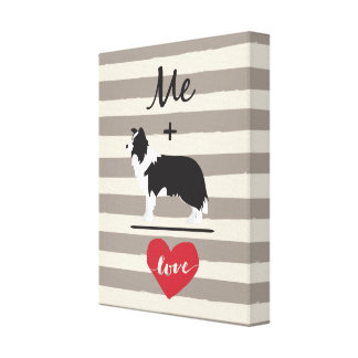 Me plus Border Collie equal Love Wrapped Canvas キャンバスプリント