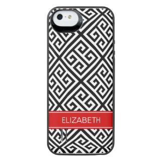 Medのギリシャ人の鍵のDiag黒く白いTの赤い一流のモノグラム iPhone SE/5/5sバッテリーケース