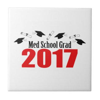 Medの学校の卒業生2017の帽子および免状(赤い) タイル