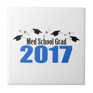 Medの学校の卒業生2017の帽子および免状(青い) タイル