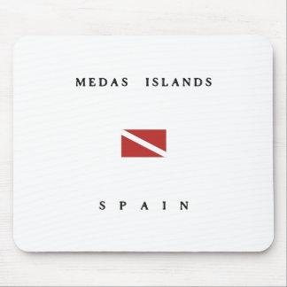 Medasの島のスペインのスキューバ飛び込みの旗 マウスパッド